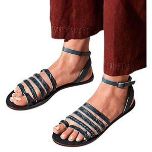 Free People Blue Aztec Design Leather Sandals